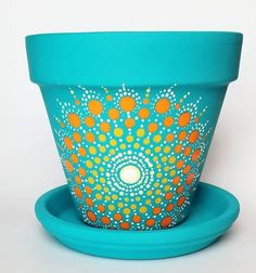 Your place to buy and sell all things handmade Flower Pot Art, Flower Pot Crafts, Clay Pot Crafts, Dot Art Painting, Mandala Painting, Painting Patterns, Painted Plant Pots, Painted Flower Pots, Decorated Flower Pots