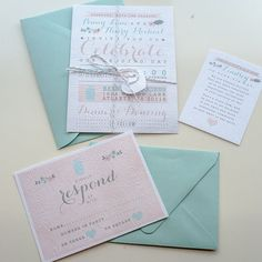 Mint and peach stationary