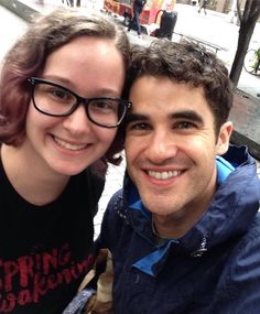 dana2249: Story time! I've been a huge fan of @darrencriss for six years now, but despite all the concerts, Starkid tours, Broadway shows, and LeakyCon almost-run-ins, I never actually met the guy. Turns out Hedwig has been rehearsing in my school, and I finally caught Darren on Monday when he was on his way back after their lunch break. He stopped to talk to us and he was super sweet. Since I've been following him for so long, it felt like seeing an old friend, even though we were talking…