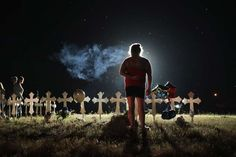 26 killed in church attack in Texas' deadliest mass shooting  -  November 5, 2017.  Twenty-six crosses stand in a field on the edge of town to honor the 26 victims killed at the First Baptist Church of Sutherland Springs on November 6, 2017 in Sutherland Springs, Texas.