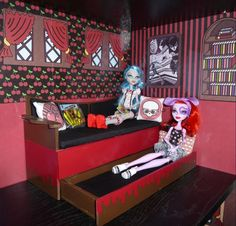 Monster High Room Ideas | about Monster High Dead Tired Bedroom Bookcase Kit....w/Abbey 's Room ...