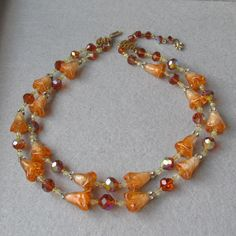 Exquisite Vintage VENDOME Two-Strand Amber Crystal & Bell Flower Glass Bead Necklace