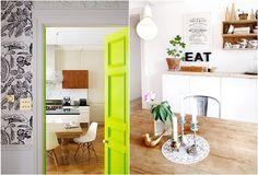 Love the little pop of color in the doorway. via mackapär