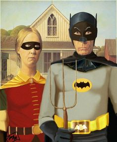 """Emma, just so you know the true origin of Batman! The true superhero identities behind the """"American Gothic"""" subjects Appropriation Art, Grant Wood, American Gothic Parody, I Am Batman, Batman Robin, Batman 1966, Funny Batman, Batman Art, Collages"""