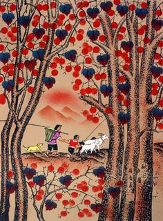 """Autumn Day"" South Chinese Folk Art.  I bought quite a few of these folk art paintings in Guangzhou when I was living in China.  There were so many, so colorful, depicting rural scenes from China; I was fascinated by them.  Unfortunately, they were all lost in our fire in 2001.  I like them much better than the stylized Chinese paintings of bamboos, pagodas, and birds that are much better known."