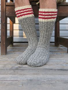 Knit Wool Socks Hand Knit Mens Grey White Twist with Red Stripes Heavy Work Socks  $39.88 USD | Mens gift ideas