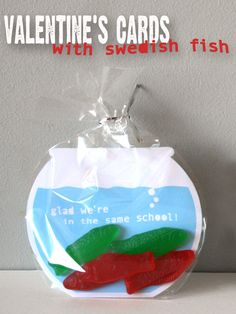 """Glad we're in the same school""  haha.  I don't like mushy-lovey valentines for my little boys and their favorite candy are sweedish fish.  Might have to make something like this, too cute!"