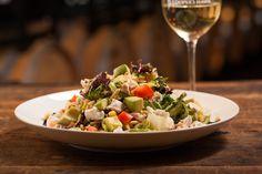 Napa Chicken Salad - Apples, Goat Cheese, Dried Cherries, Corn, Avocado, Toasted Almonds, Cilantro, Tomatoes, Honey Mustard Vinaigrette chwinery.com