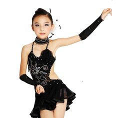 Latin Costume Black Ballroom Dancing Dress For Child XXS-XL Latin Salsa 2015 New Kids Dance Dresses Free Shipping