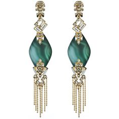 Alexis Bittar Teatro Moderne Gold Fringed Malachite Clip Earring ($173) ❤ liked on Polyvore featuring jewelry, earrings, fringe earrings, punk rock earrings, alexis bittar jewelry, clip earrings and gold jewelry