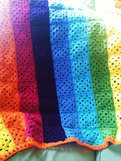 Rainbow crocheted blanket.