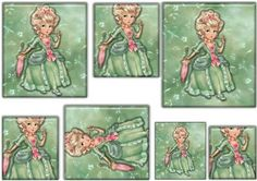 lady green by Pauline Lesley Coulson stacker card lady green out for a walk