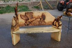Chainsaw Carved Wood Benches | Ken G Braun Jr