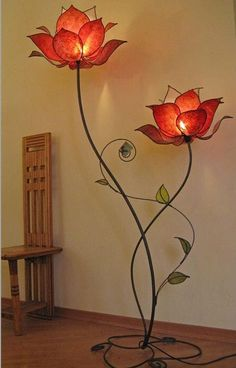 One of the best object to be used in your home is the lamp. A lamp is not only awesome for your home lighting but also a good stuff to design and decor yourWe sell beginner-friendly DIY lamp kits and accessories so you can make a custom light fixture that Flower Lamp, Flower Lights, Butterfly Lamp, Stained Glass Lamps, Lamp Design, Chair Design, Design Design, Interior And Exterior, Sweet Home