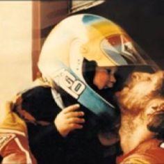 Valentino Rossi with his father Graziano....