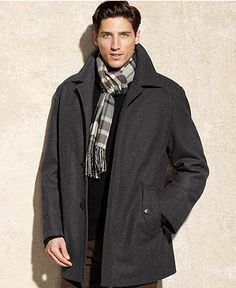 Perry Ellis Big and Tall Jacket, Button Front Wool-Blend Car Coat ...
