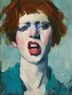 Malcolm T. Liepke (b. 1953), oil on canvas, 2017 {figurative #impressionist art beautiful redhead female head woman face portrait painting}