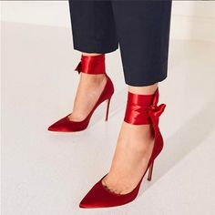 Plus Size Shoes Red Satin Lace Up Womens High Heels #affiliate High Heel Pumps, Pumps Heels, Stiletto Heels, Shoes Sandals, Ankle Strap Heels, Ankle Straps, Giuseppe Zanotti Heels, Prom Heels, Sexy Heels