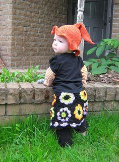 Baby girl Granny Square crocheted skit