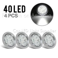 Pack of 8, Red Lens - Red Light 4 Round 12-LED Truck RV Trailer Tail Light Rubber Cover Wiring Plug Kit