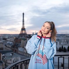 """#GigiHadid via Tommy Hilfiger (@tommyhilfiger) on Instagram: """"We're in love with the freedom and glory of PARIS... (and with @GigiHadid in Vintage Tommy✌️)…"""""""