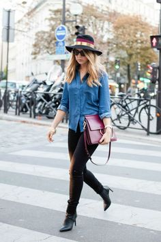 In Real Life[[MORE]] Shirt and jeans and denim shirt //: In Real Life by ShowroompriveBag Bag // Chloe via WearMyLuxury// Hat Hat: Maison MichelBoots: Erin Adamson (similar here, here and here // similar here, here or here) Fashion By Pardon My...