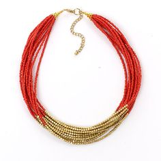 """Ashley Cooper 17"""" Multi Row Seed Bead Necklace"""