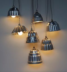 Repurposed vintage jelly mould lighting from Re-found. Image © Re-found all rights reserved Home Lighting, Kitchen Lighting, Lighting Ideas, Outdoor Lighting, Kitchen Lamps, Kitchen Sink, Lighting Design, Luminaire Original, Mad About The House
