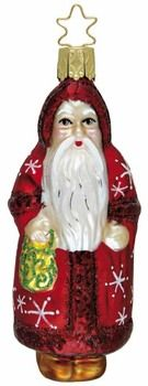"""Best of Belznickles. Saint Nicholas.  Santa.   Father Christmas. Sinterklaas. Legend Card.  4-1/4"""" glass ornament. New in 2008. Inge Glas No. 1-100-08. Hand-blown, hand-painted. From Inge Glas studios in Neustadt, Germany.  Available at www.mygrowingtraditions.com    Santa brings unselfishness and goodwill."""