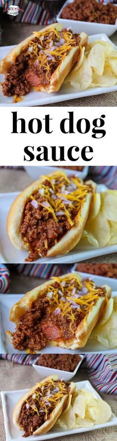 Hot Dog Sauce Easy homemade hot dog sauce that you need for your chili dogs!Easy homemade hot dog sauce that you need for your chili dogs! Dog Recipes, Chili Recipes, Sauce Recipes, Cooking Recipes, Hot Dog Sauce, Hot Dog Chili, Chili Dogs, Homemade Hot Dogs, Gastronomia
