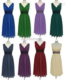 Wholesale Bridesmaid Dresses - Buy 2013 Elegant V Neck Ruffles Chiffon A Line Tea-Length Bridesmaid Dresses Prom Party Gowns RL7551, $55.68 | DHgate