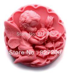 molde de silicon jabon querubin angel angelito con rosas