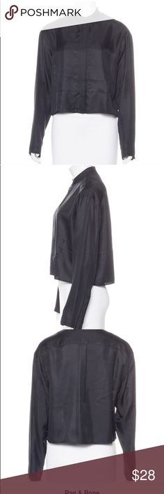 Rag & Bone silk jacket Cropped black silk zipper jacket by Rag & Bone in size US small. Authenticated product by The Real Real luxury consignment. See last photo for details on product per TRR. Excellent like new condition. I haven't worn since purchasing from TRR, only had dry cleaned. rag & bone Tops