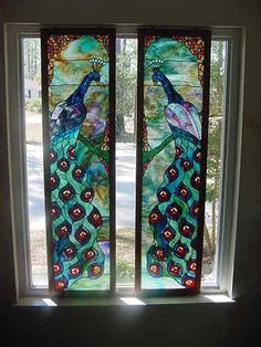 """Stained Art Glass Window Panels with Frames """"Peacock"""" Design A Pair   eBay"""
