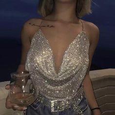 Online Shop FestivalQueen Brilliant Rhinestone Backless Party Crop Top Women 2019 Summer Deep V Neck Night Club Diamonds Metal Tank Tops Mode Outfits, Night Outfits, Fashion Outfits, Club Outfits For Women, Bar Outfits, Vegas Outfits, Woman Outfits, Stylish Outfits, Vegas Dresses