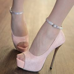 Shimmering Sequins Super High Heel Peep Toe Ankle Strap Pink Pumps