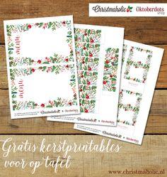 Bekijk de prachtige menukaart, servetringen én naamkaartjes voor een feestelijke kerst tafel. Deze free printables kun je gratis downloaden en printen!