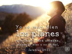 Jeremías 29:11 Porque yo sé los pensamientos que tengo acerca de vosotros, dice Jehová, pensamientos de paz, y no de mal, para daros el fin que esperáis. ♔