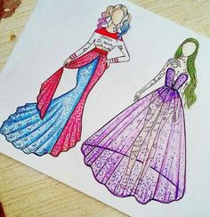 skizzen zeichnen Harley Quinn & Joker (Fashion by JoeslleyRocha 😊 😊) Disney Kunst, Arte Disney, Disney Art, Amazing Drawings, Cute Drawings, Drawing Sketches, Harley Quinn Drawing, Joker And Harley Quinn, Dress Drawing
