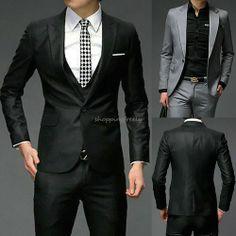 New Men Slim Fit Business Dress Suit Tops Blazers Casual Coat Jacket Black Gray