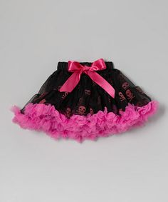 Take a look at this Pink & Black Skull Pettiskirt - Infant, Toddler & Girls by Seesaws & Slides on #zulily today!