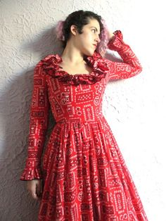 a8b6b92cf3 70 s Vintage Victor Costa Bandanna Print Ruffled Romantic Maxi Dress