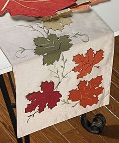 Look at this Falling Leaf Faux Silk Table Runner on today! - - Look at this Falling Leaf Faux Silk Table Runner on today! Table Runner And Placemats, Table Runner Pattern, Quilted Table Runners, Fall Crafts, Diy And Crafts, Burlap Runners, Burlap Crafts, Sewing Table, Leaf Table