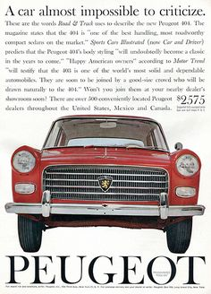 1961 Peugeot 404 Advertising Car and Driver July 1961 | Flickr - Photo Sharing!