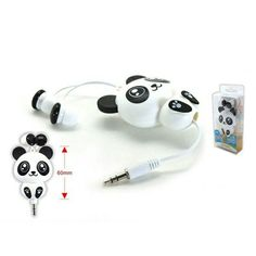 Adorable retractable panda ear buds