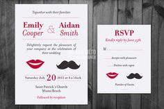 Moustache Wedding Invitation