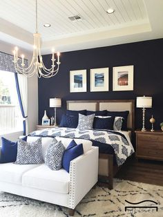 Blue Bedroom Navy Idea Aesthetic Modern White Furniture Decor