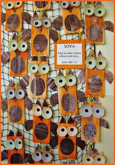 Pin by jitka b. on pč owl crafts, fall crafts for kids, crafts for kids. Autumn Crafts, Fall Crafts For Kids, Toddler Crafts, Art For Kids, Bird Crafts, Animal Crafts, Crafts For 2 Year Olds, Xmas Tree Decorations, Preschool Art