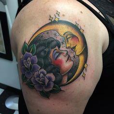 traditional moon tattoo