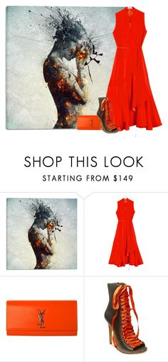 """""""Fire in her Soul"""" by ritaosantos ❤ liked on Polyvore featuring Cortesi Home, Rodebjer, Yves Saint Laurent, Steve Madden, red, Clutch, Fire, artwork and fireinhersoul"""
